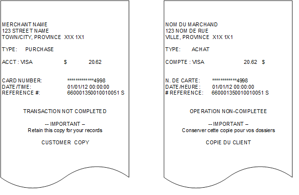 Cardholder Copy Receipts – Declined by Card