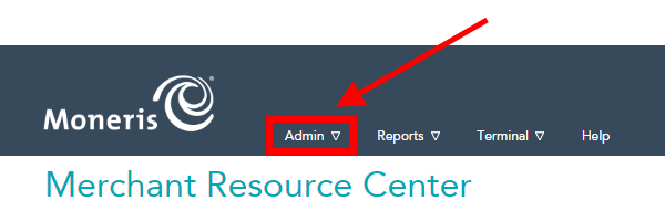 Merchant Resource Center select Admin